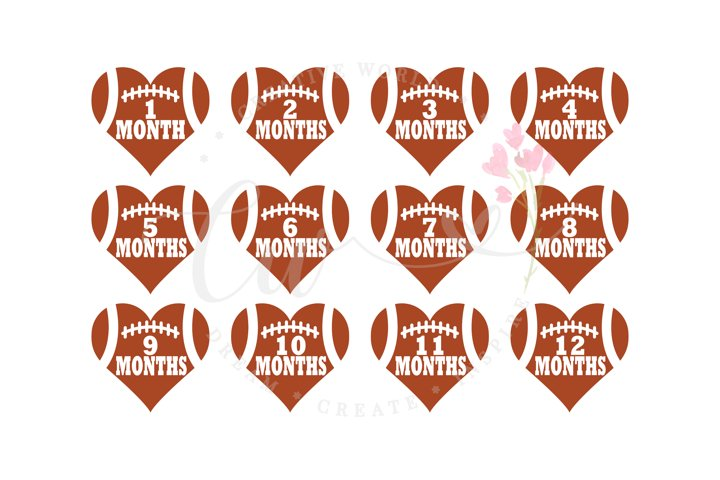 Babys First Year Monthly Milestone svg | Football Heart svg