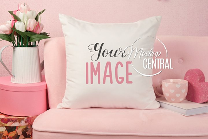Valentines Day Chair Square Mockup Pillow, JPG Download