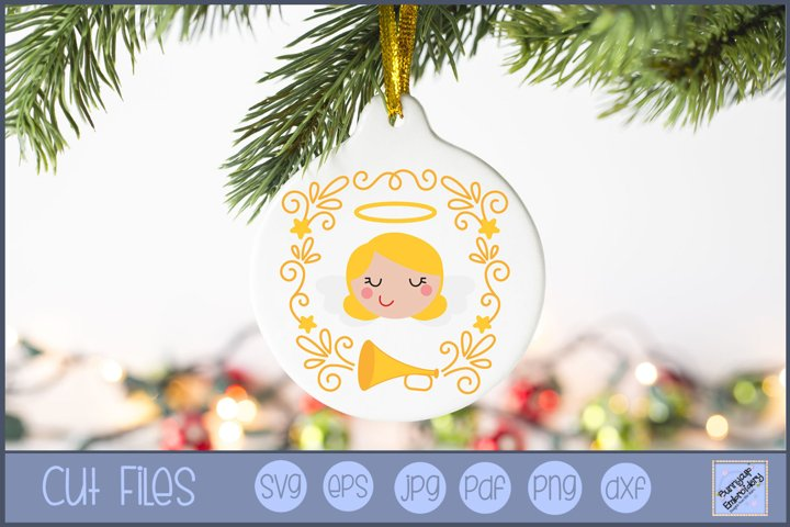 Angel Christmas Laurel SVG | Christmas SVG