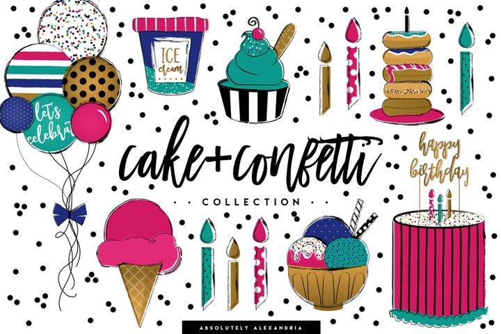 Cake + Confetti Clipart Illustrations & Seamless Digital Paper Patterns Bundle