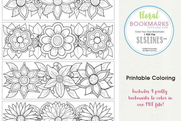 Retro Pop Style Flower Bookmarks to Color