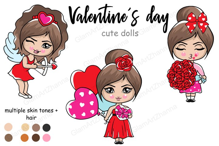 Valentines Day CUTE DOLLS Love Romantic Girls Clipart - PNG