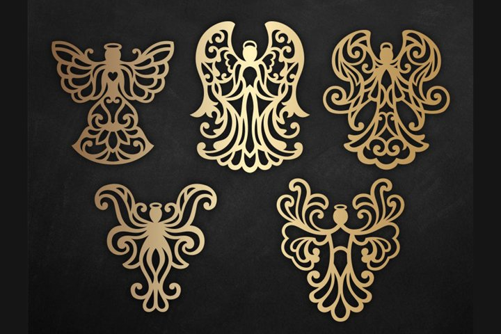 Angel Silhouette SVG Christmas ornament cutting file