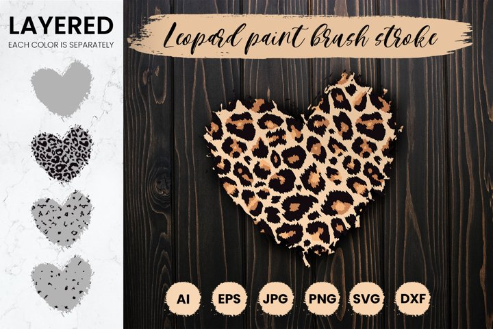 Layered Leopard Heart Svg, Paint Brush Stroke sublimation