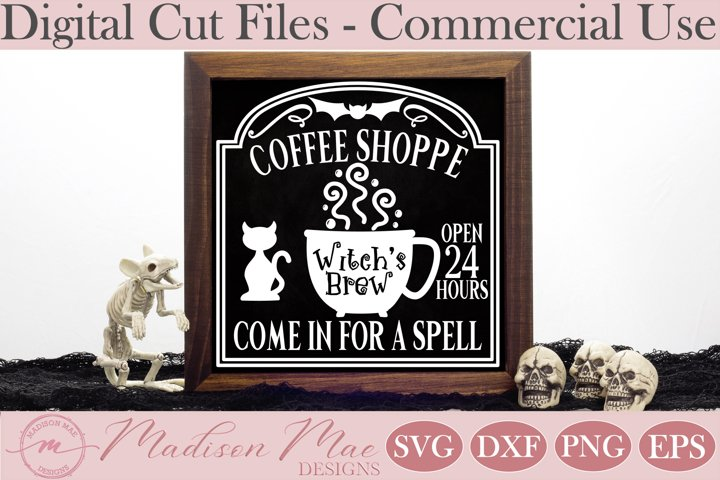 Witchs Brew Coffee Shoppe, Halloween Sign SVG