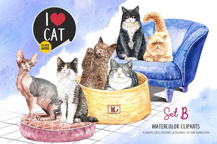 Cat watercolor Set B, Animal watercolor
