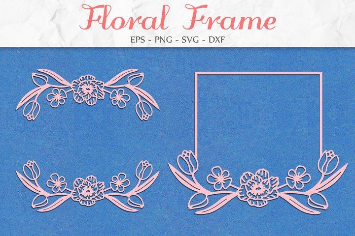 Floral Frame SVG, Flower SVG, Floral Clipart