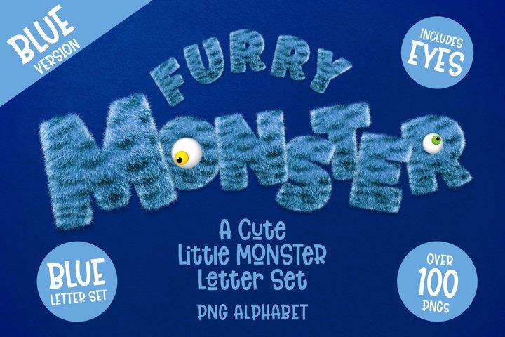 Furry Monster Alphabet - PNG Letter Set in Blue