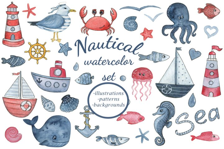 Sea dreams. Nautical watercolor set. Sea Clipart Collection