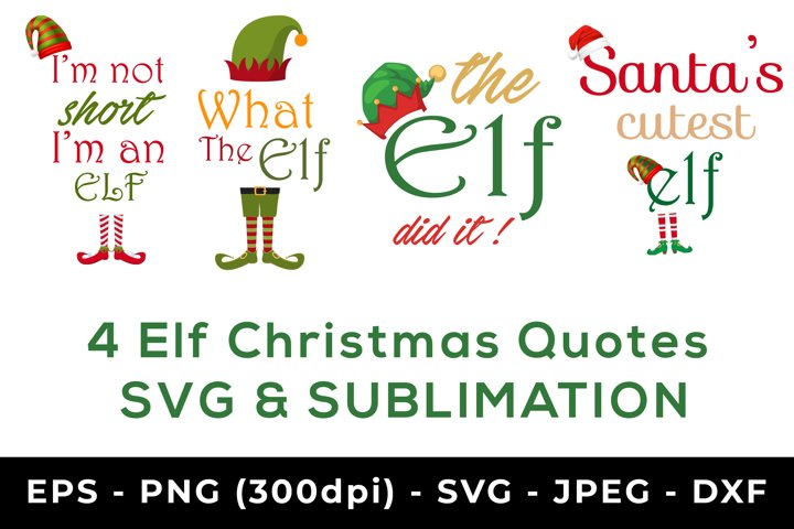 4 Elf christmas svg and sublimation designs