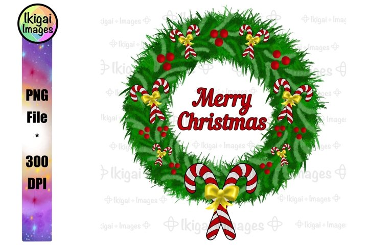 Merry Christmas Wreath, PNG Sublimation with Candy Canes