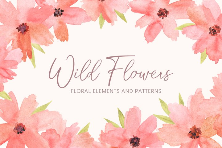 Watercolor Floral Elements and Patterns