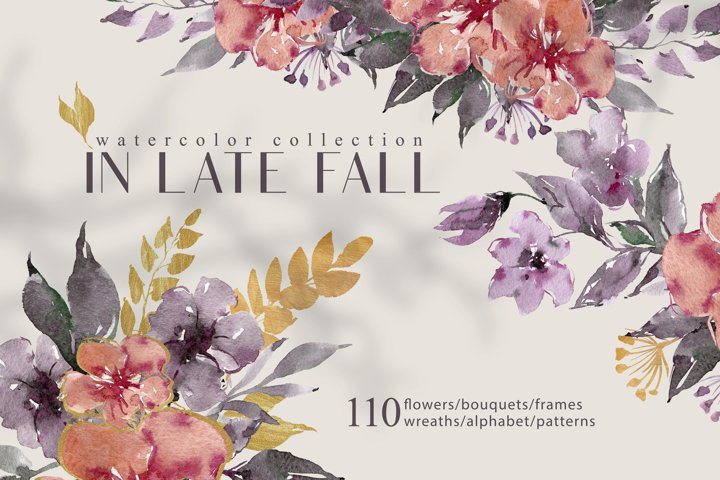 Watercolor autumn floral clipart collection-wreaths, frames