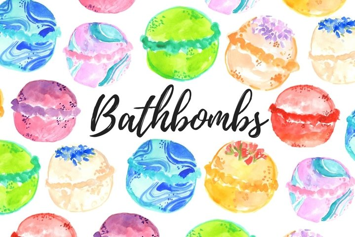 Watercolor bathbombs clipart
