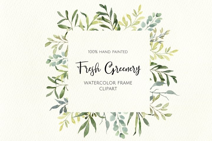 Watercolor Hand painted Greenery Frame. Digital Clipart.