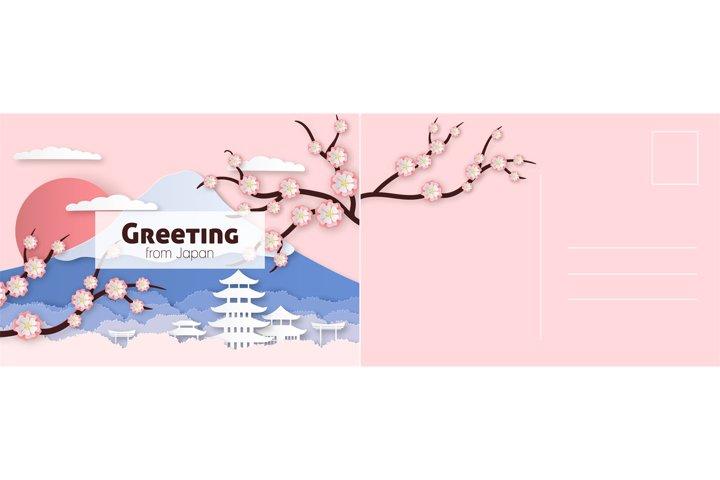 Travel postcard. Japanese card with sakura flowers, historic