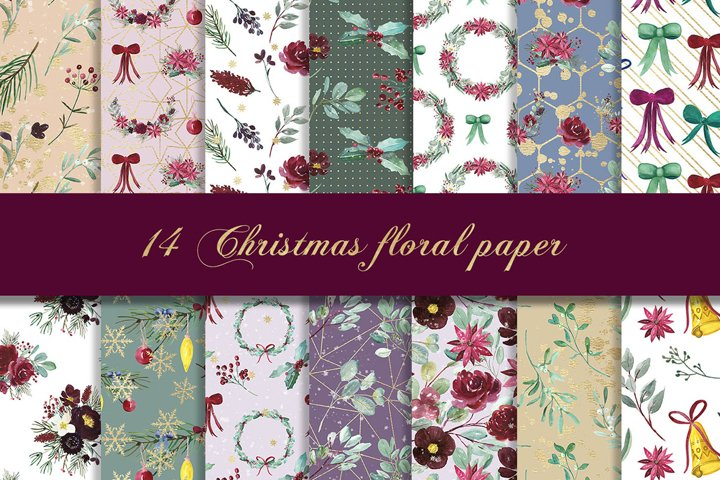 Christmas floral digital paper, seamless pattern