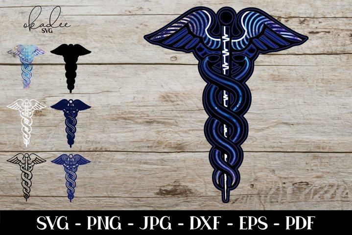 3D Layered Mandala SVG, Caduceus SVG, Nurse SVG, Cricut File