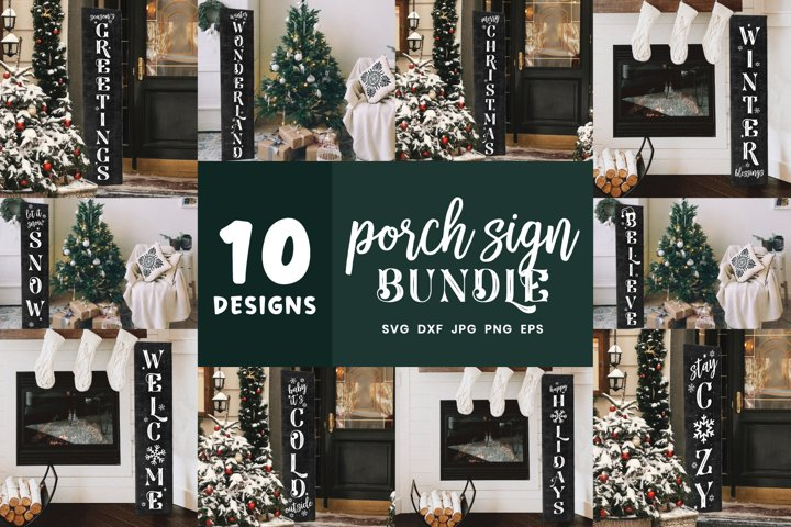 Christmas Vertical Porch Signs | Winter Porch Svg Bundle