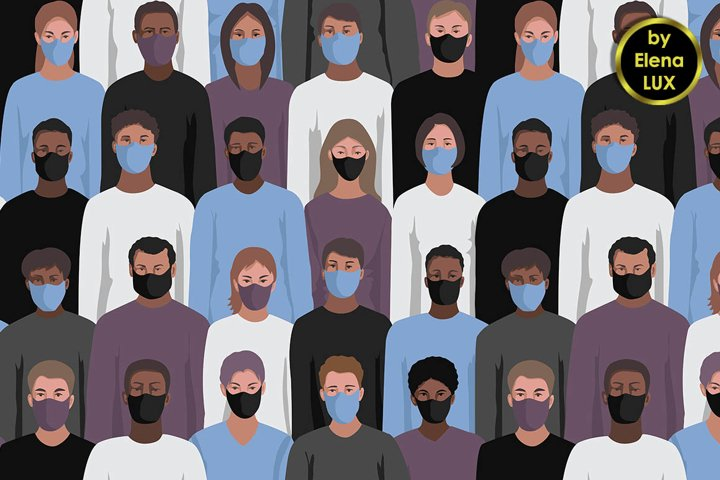 Seamless pattern People in Masks