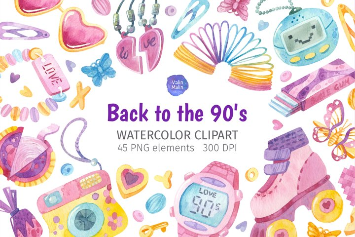 Back to the 90s. Watercolor clipart for 90s party