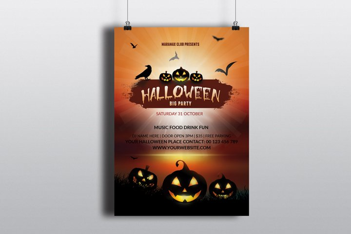 Halloween Party Flyer Template, MS Word & Photoshop Template