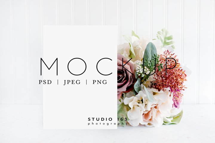 5x7 Card Mockup, Wedding Invitation Mockup, PSD JPG