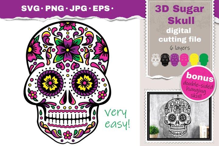 3D Layered Skull svg Papercut svg Mandala 3d day of the Dead