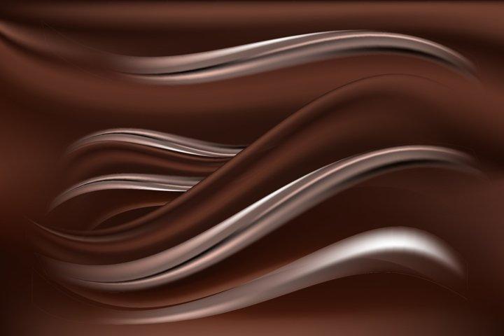 Chocolate creamy silk background. Wave satin fabric texture