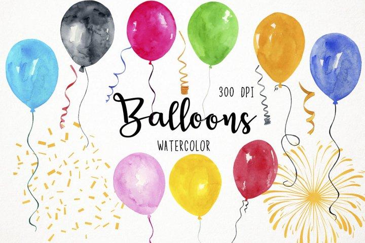Watercolor Balloons Clipart, Balloons Clip art, Balloons PNG