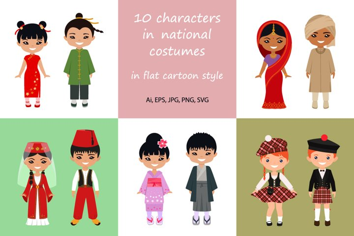 Set of cute chibi characters in national costumes