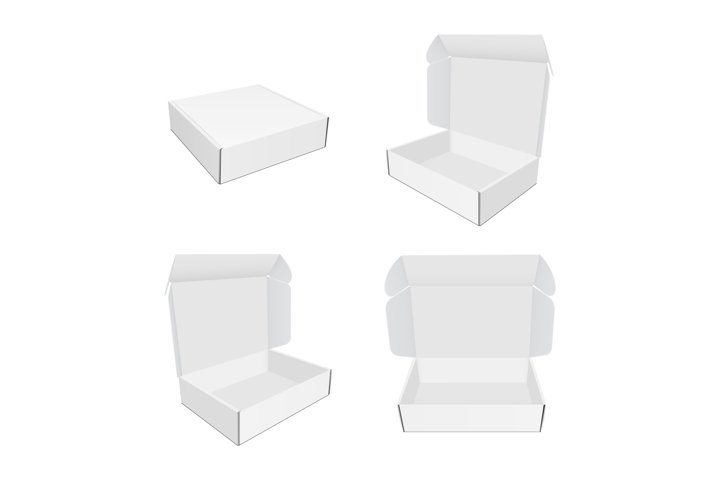 Set of mailing paper boxes with various views