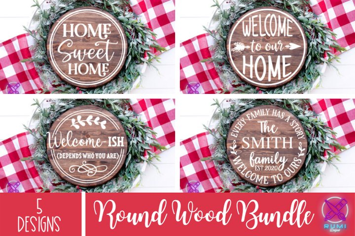 Farmhouse Welcome Round Wood Sign SVG, Cut Files