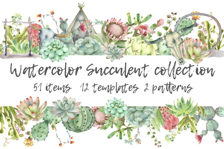 Succulent Watercolor Collection