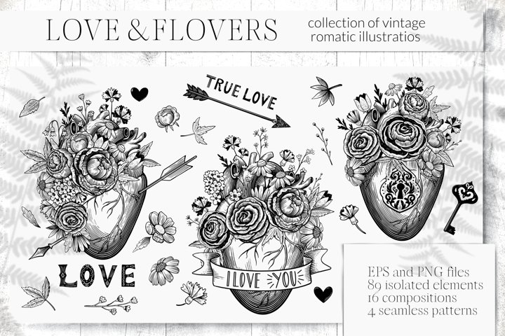 Collection of vintage romantic elements