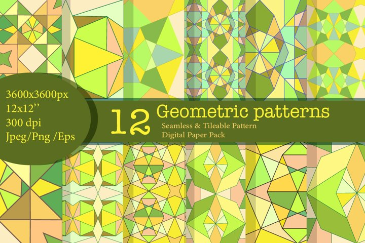 12 Green Geometric Digital Paper and Seamless Pattern