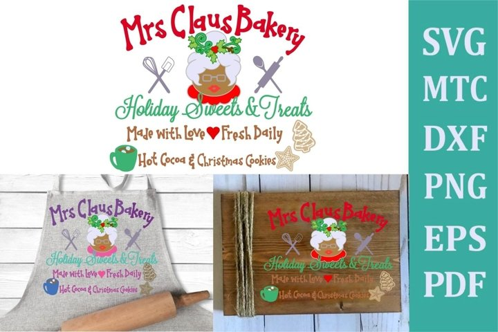 Mrs Claus Bakery Christmas Sign #02 SVG Cut File