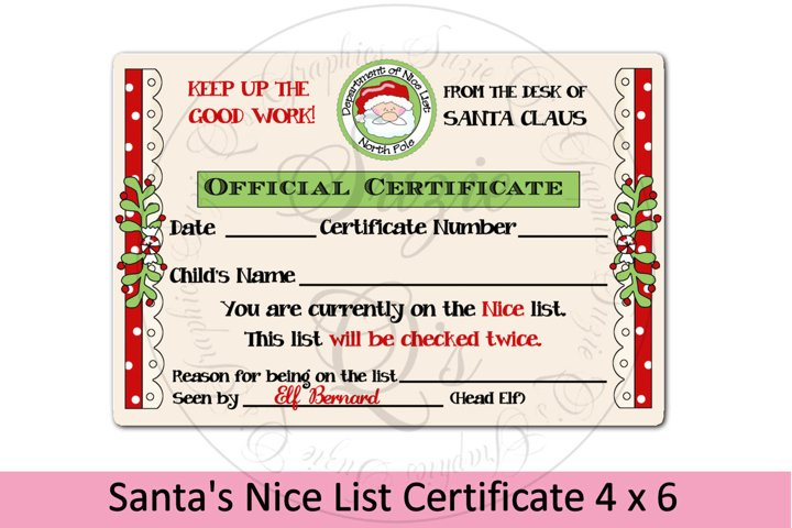 Santas Nice List Certificate 4 x 6 inches