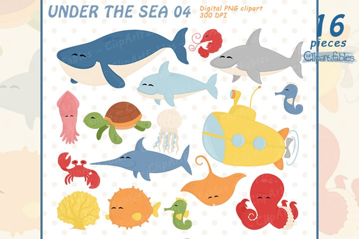 UNDER THE SEA, Cute baby animals clipart, INSTANT download