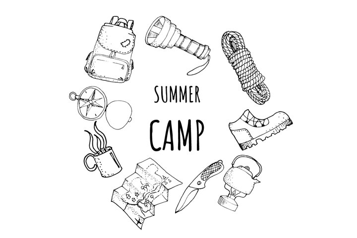 Set of 15 hand drawn outline camping tools illustrations