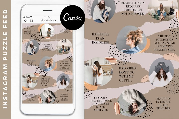 Instagram Puzzle Feed Template Canva, Instagram Templates