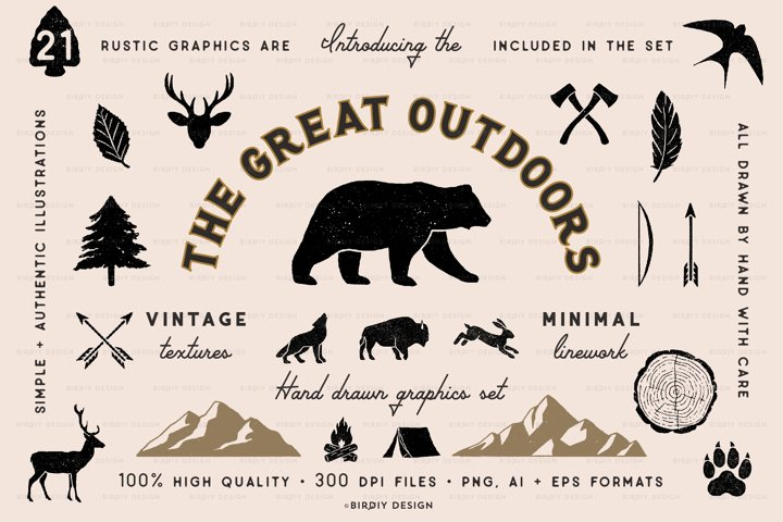 Rustic Nature Icons & Illustrations
