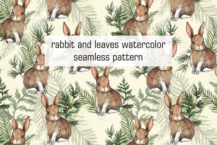 Cute rabbits and leaves watercolor