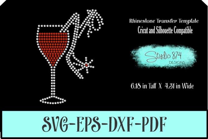 Wine Glass with Shoe Rhinestone SVG Template R1 - Add ON