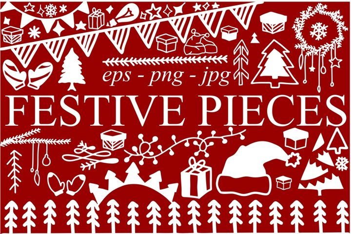 Christmas festive pieces 156 illustrations in eps, jpg, png