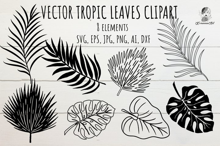 Tropical leaves silhouette SVG clipart - Cut File for Craft