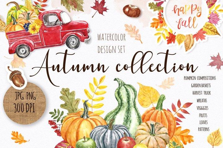 Watercolor Autumn Fall Pumpkin graphic Clipart Bundle