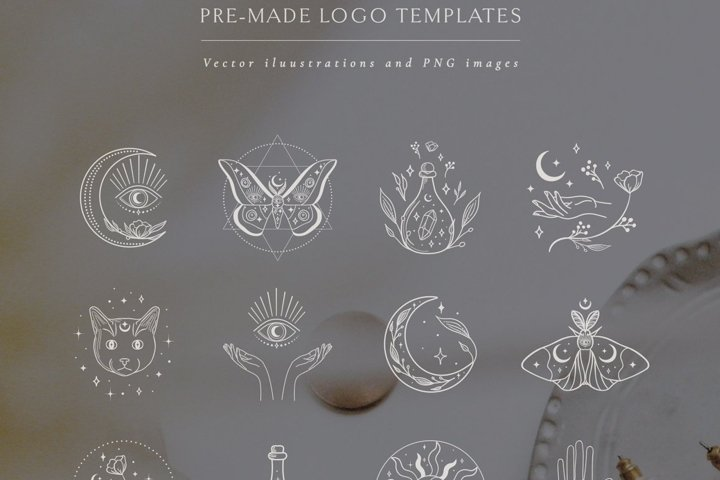 Logo Illustrations White Color. Esoteric mystic symbols.