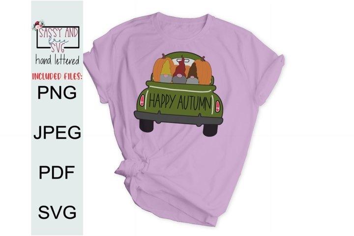 Happy Autumn Gnomes Truck SVG, PNG, & JPEG