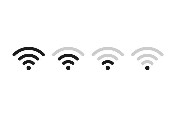 Wifi signal strength icon set. Wi-Fi level symbol
